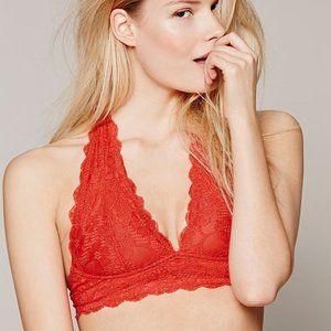 Free People Red Lace Halter Bralette NWT Size S